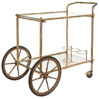 French Bagues Vintage Bamboo Bar Cart