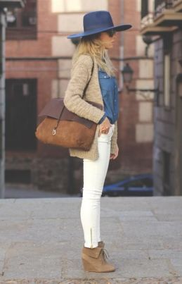 white denim with floppy hat