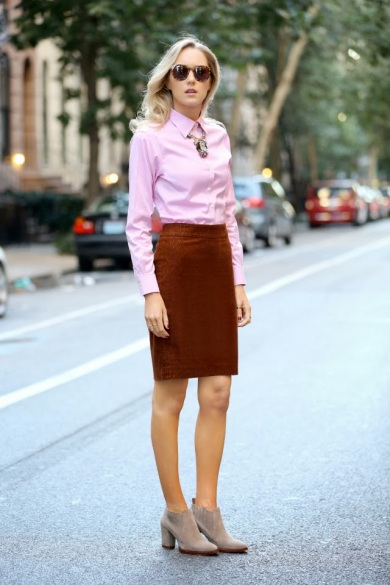 Full 3 J crew tortoise and turquoise statement necklace corduroy pencil skirt zara booties pink oxford brooks brothers shirt karen walker super duper