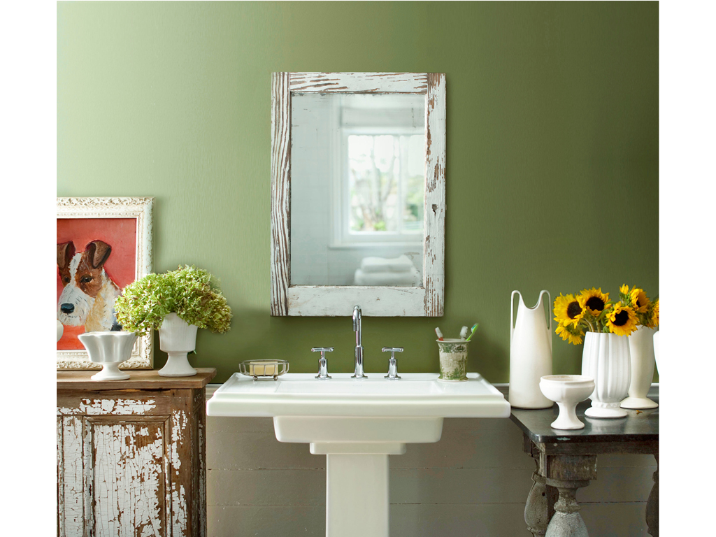 Army green queen the lady olive for Blue green bathroom ideas