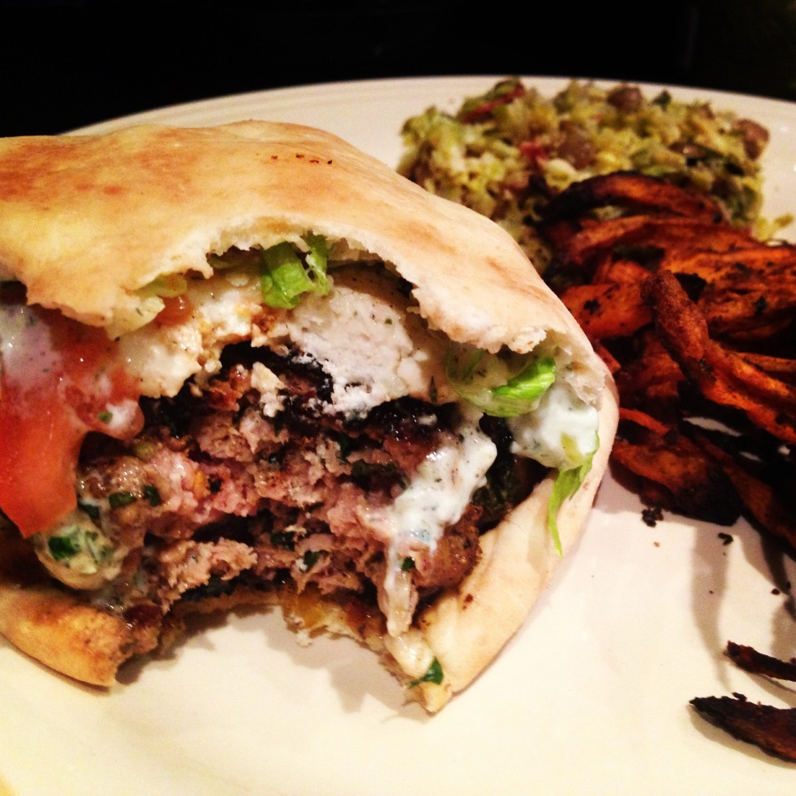 Lamb Burgers and Sweet Potato Fries
